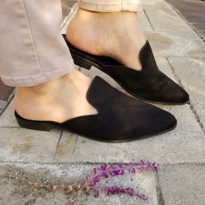 Shoes - Black Pointy Toe Slip On Mule Loafer-B